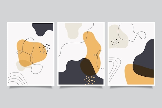 Flat abstract art cover collection