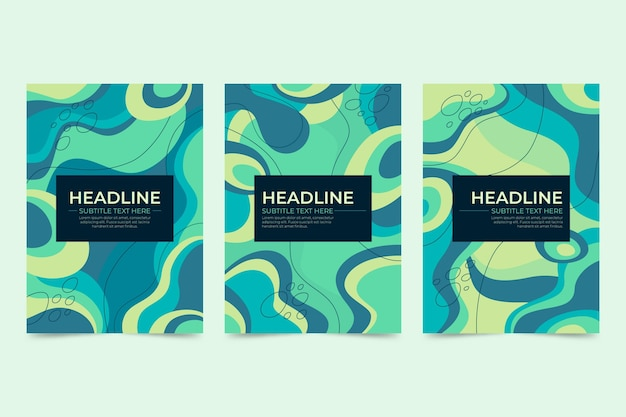 Flat abstract art cover pack