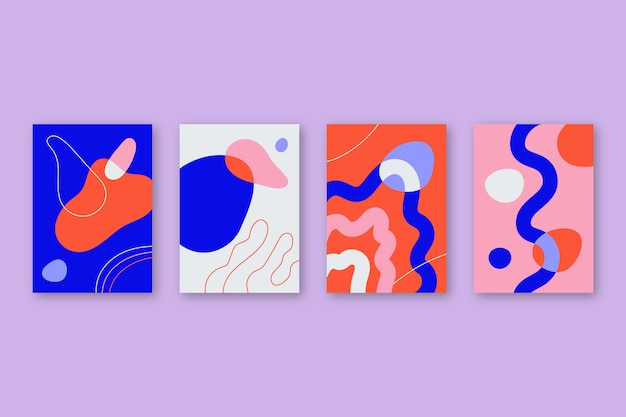 Set copertina piatta arte astratta