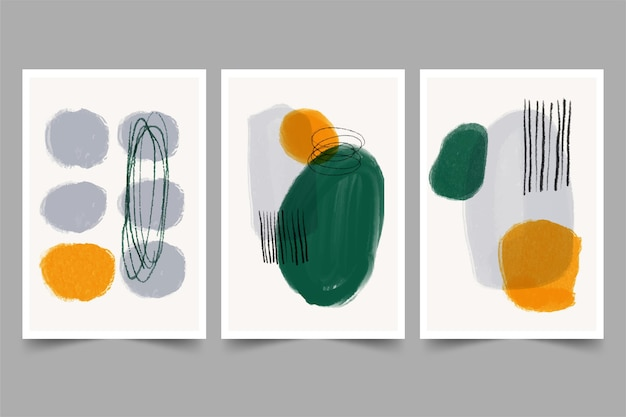 Flat abstract art covers collection