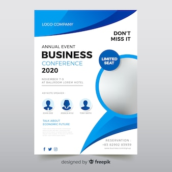Flat abstract business conference flyer template