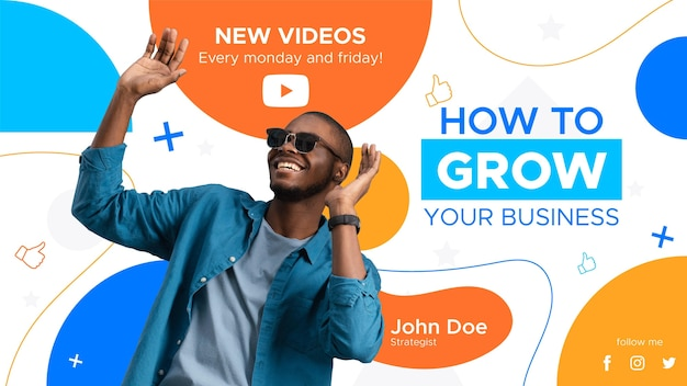Flat abstract business youtube thumbnail template