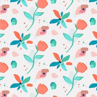 편평한 추상 꽃 패턴