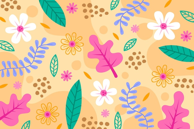 Flat abstract floral wallpaper