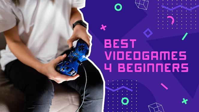 Flat abstract gamer youtube thumbnail