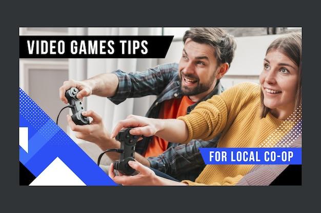 Miniatura di youtube piatta astratta del giocatore
