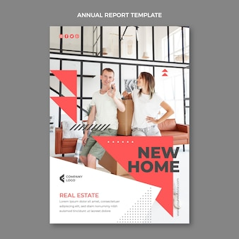 Flat abstract geometric real estate annual report