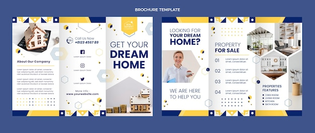 Flat abstract geometric real estate brochure
