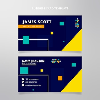 Flat abstract geometric real estate horizontal business card template