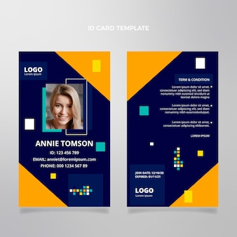 Flat abstract geometric real estate id card template