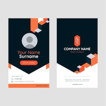 Flat abstract geometric real estate id card
