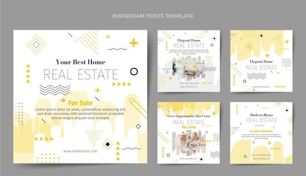 Flat abstract geometric real estate instagram posts collection