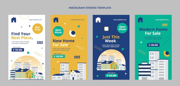 Flat abstract geometric real estate instagram stories