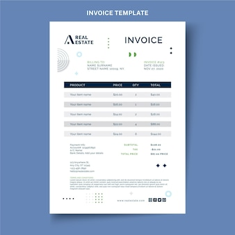 Flat abstract geometric real estate invoice