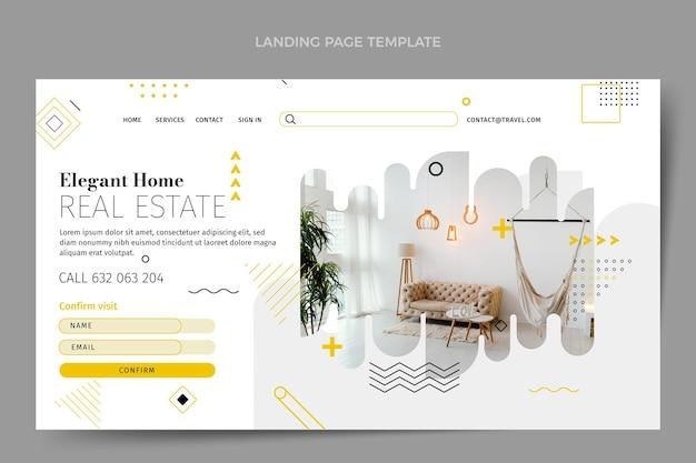 Плоский абстрактный геометрический шаблон целевой страницы недвижимости