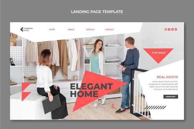 Pagina di destinazione immobiliare geometrica astratta piatta