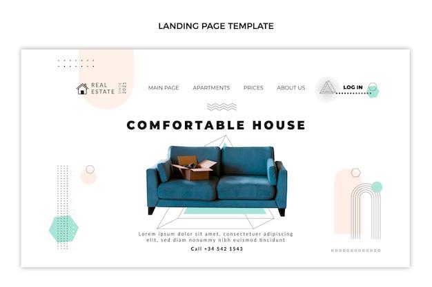 Плоская абстрактная геометрическая целевая страница недвижимости