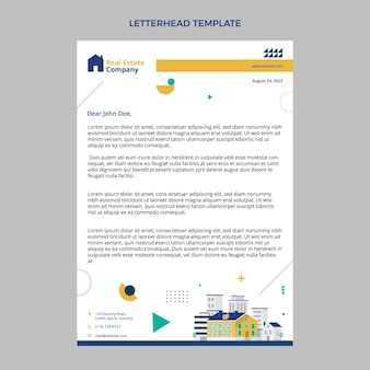 Flat abstract geometric real estate letterhead