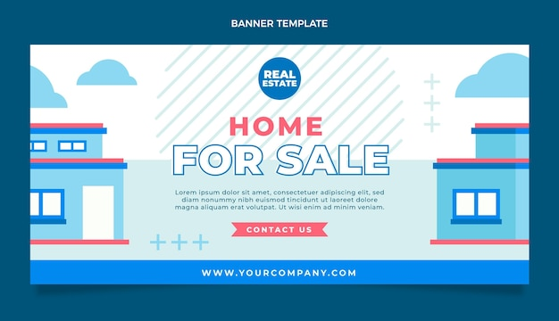 Flat abstract geometric real estate sale horizontal banner template