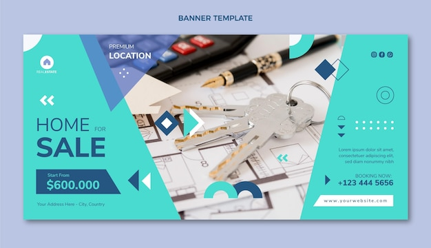 Flat abstract geometric real estate sale horizontal banner