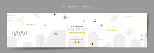 Flat abstract geometric real estate twitch banner