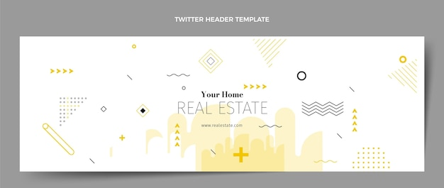 Intestazione twitter immobiliare geometrica astratta piatta