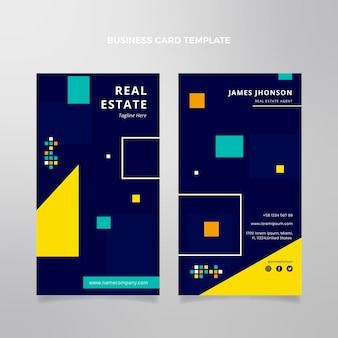 Flat abstract geometric real estate vertical business card template