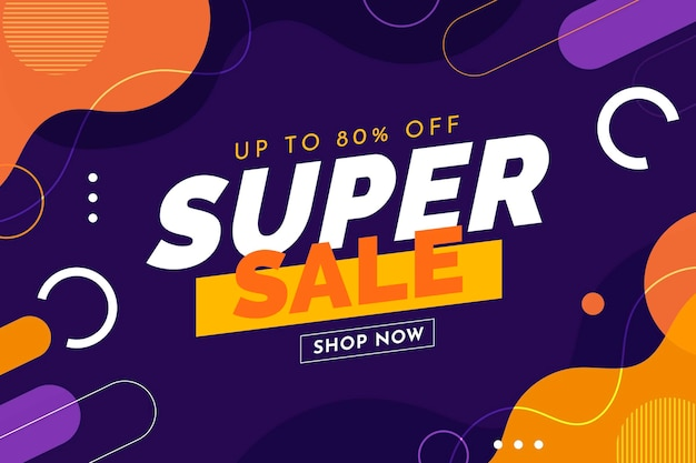Flat abstract horizontal sale banner template
