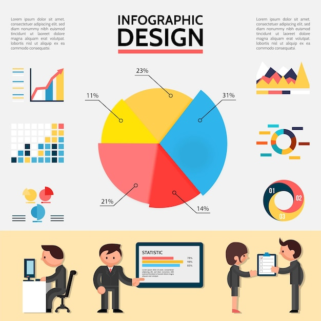 Плоская абстрактная инфографика с графиками, диаграммами, диаграммами и деловыми людьми в разных ситуациях иллюстрации