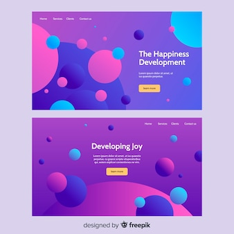 Flat abstract landing page templates