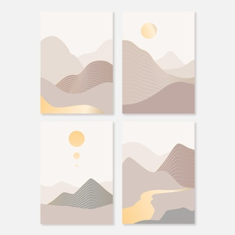 Collezione di copertine di paesaggi astratti piatti Vettore gratuito