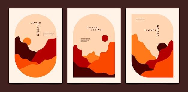 Коллекция плоских абстрактных пейзажных обложек
