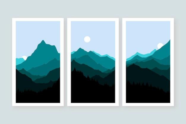 평면 추상 풍경 표지 컬렉션