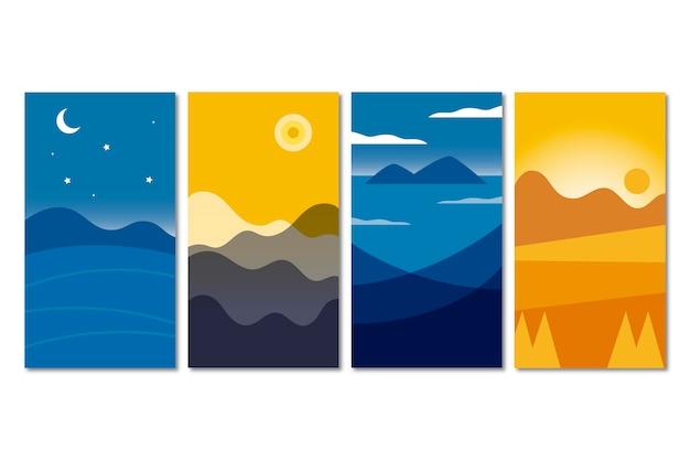 Коллекция плоских абстрактных пейзажей