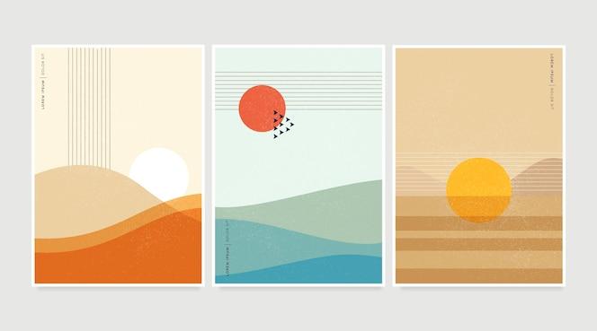 平らな抽象的な風景はコレクションをカバーしています