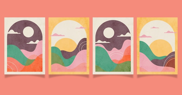 Flat abstract landscape covers collection