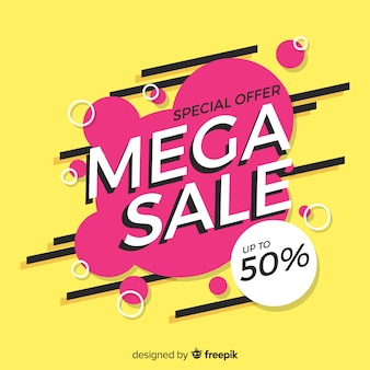 Flat abstract mega sale background