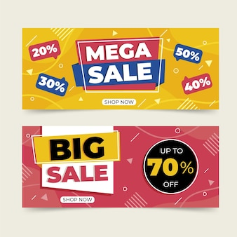 Flat abstract mega sale banners