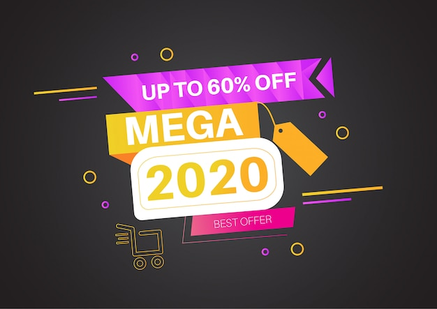 Flat abstract mega sale special new year 2020 up to 60%