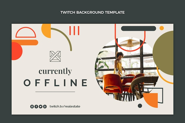Flat abstract real estate twitch background Free Vector