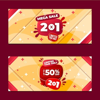Flat abstract sale banners set