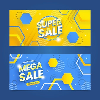 Flat abstract sale banners set Premium Vector