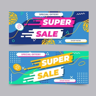 Flat abstract sale banners with discount