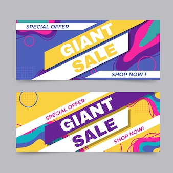 Flat abstract sale banners with offer