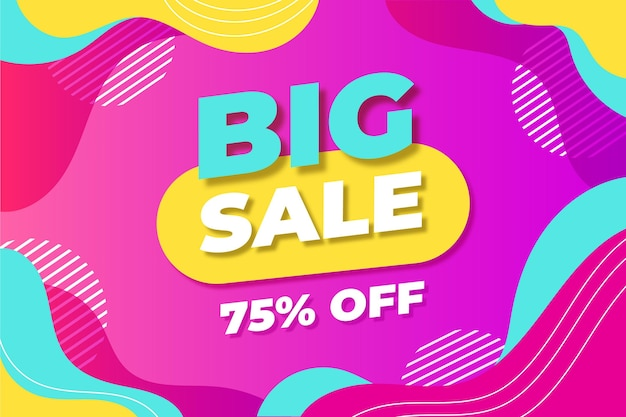 Flat abstract sale horizontal banner template