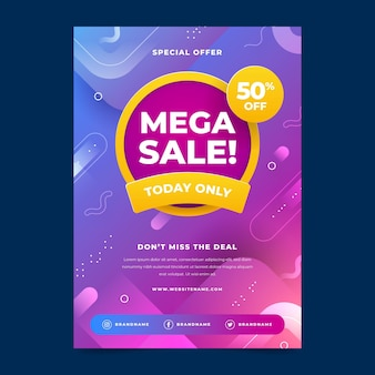 Flat abstract sale poster template