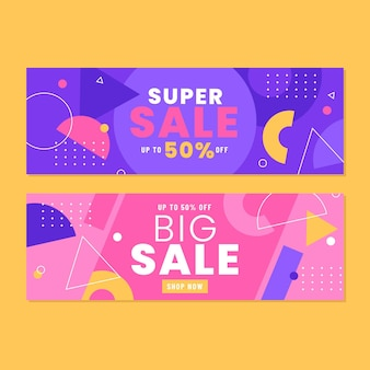 Flat abstract sales banners with offer