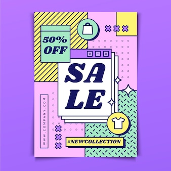 Flat abstract sales poster template