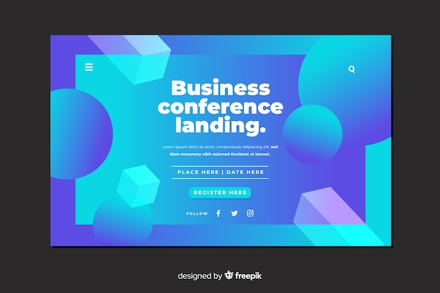 Flat abstract shapes business conference landing page