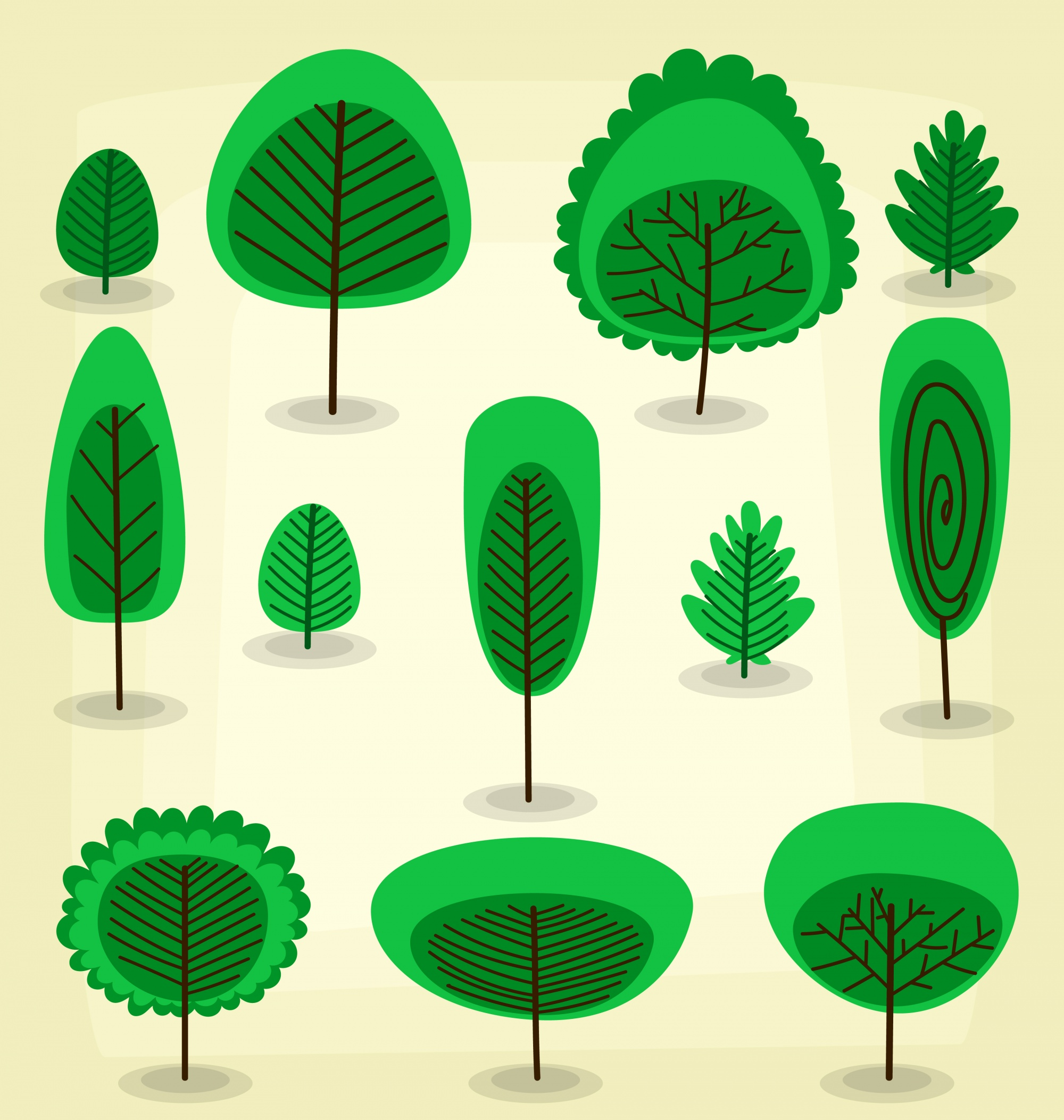 Flat abstract tree bush cartoon isolated template collection
